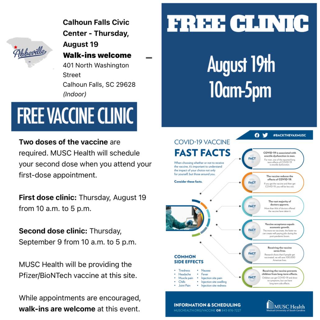 COVID-19 Vaccine Clinic Flier - English